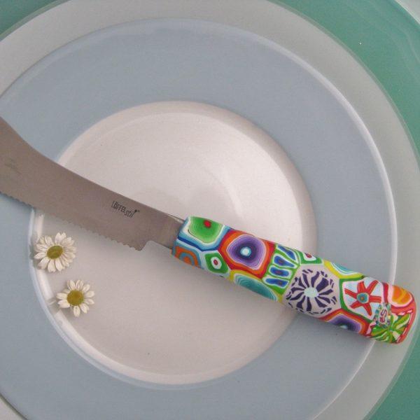 Messer Bunter Griff, Handarbeit, Unikat, Besteck, fröhlich, Polymer clay, Löffelstil, Kunsthandwerk