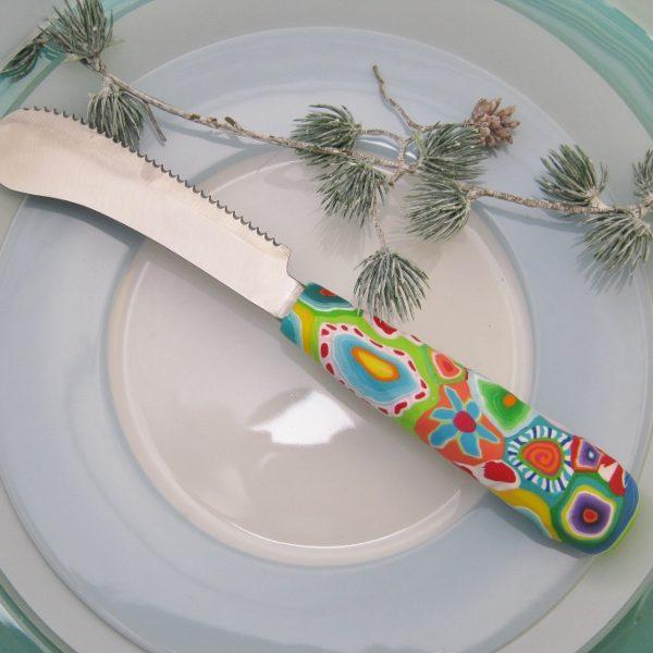 Messer Bunter Griff, Handarbeit, Unikat, Besteck, fröhlich, Polymer clay, Löff