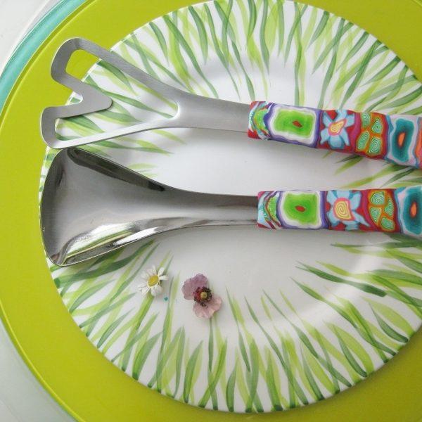Salatbesteck Löffelstil Besteck, fröhlich, Handarbeit, Käsemesser Bunter Griff, Kunsthandwerk, Löffelstil, Polymer clay, Unikat